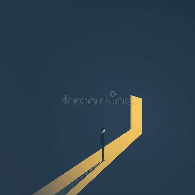 Geschäft, das Lösungsvektorkonzept mit dem Geschäftsmann steht in der Dunkelheit, Licht herauskommt aus die Tür findet Symbol der stock abbildung