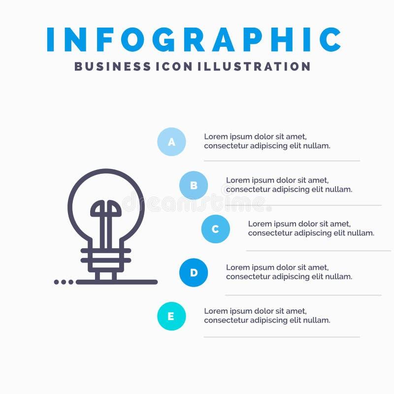 Geschäft, definierend, Management, Produktserie Ikone mit Hintergrund infographics Darstellung mit 5 Schritten lizenzfreie abbildung