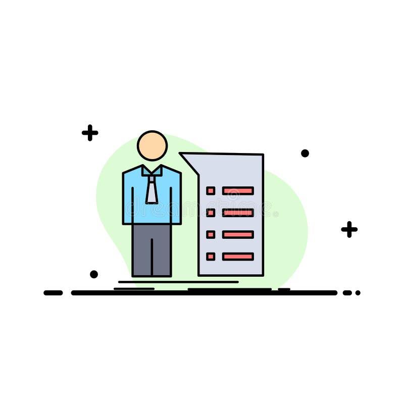 Geschäft, Erklärung, Diagramm, Sitzung, Darstellung flacher Farbikonen-Vektor vektor abbildung