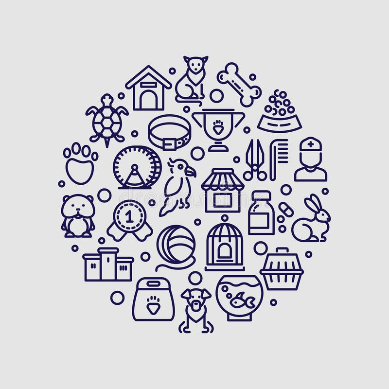 Geschäft für Haustiere und die Tierarztklinik vector Logo lokalisiert lizenzfreie abbildung