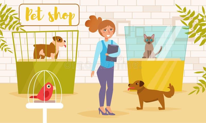 Geschäft für Haustiere Vektor karikatur Lokalisierte Kunst Flache Katzenshow stock abbildung