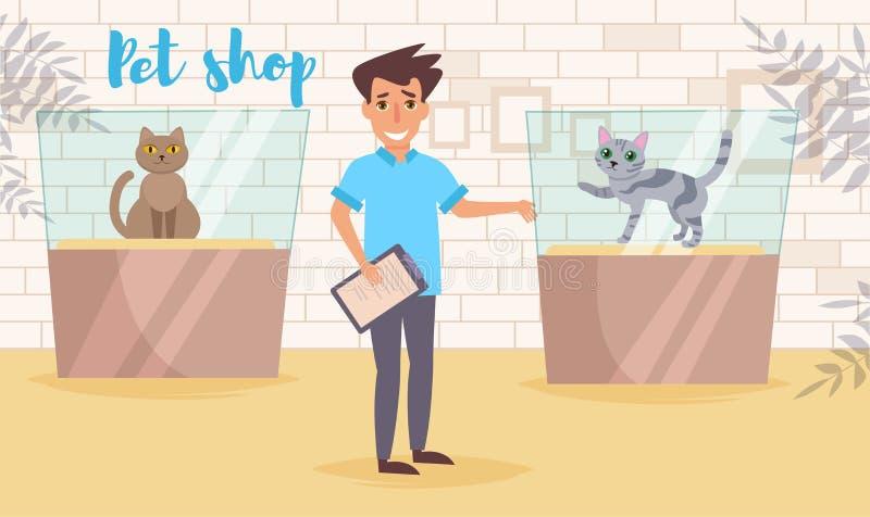 Geschäft für Haustiere Vektor karikatur Lokalisierte Kunst Flache Katzenshow Arbeit lizenzfreie abbildung