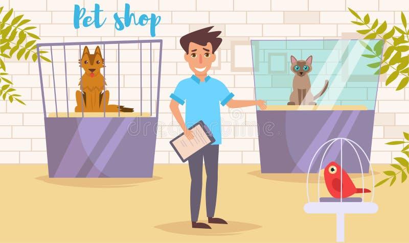 Geschäft für Haustiere Vektor karikatur Lokalisierte Kunst Flache Katzenshow Arbeit vektor abbildung