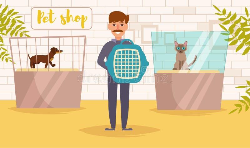 Geschäft für Haustiere Vektor karikatur Lokalisierter Kunst Mann vektor abbildung