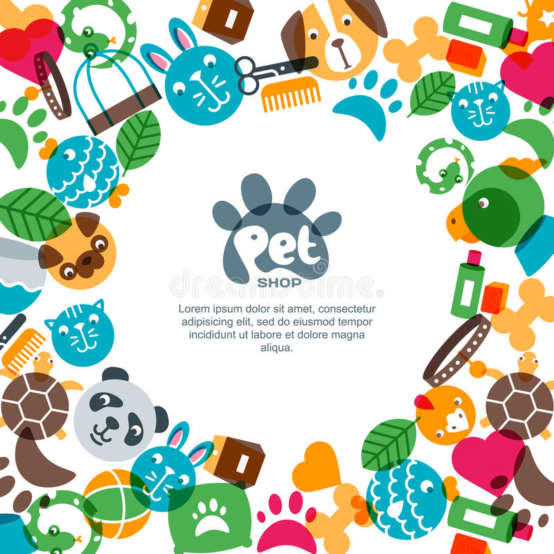 Geschäft für Haustiere, Zoo oder quadratische Fahnen-, Plakat- oder Fliegerdesignveterinärschablone stock abbildung