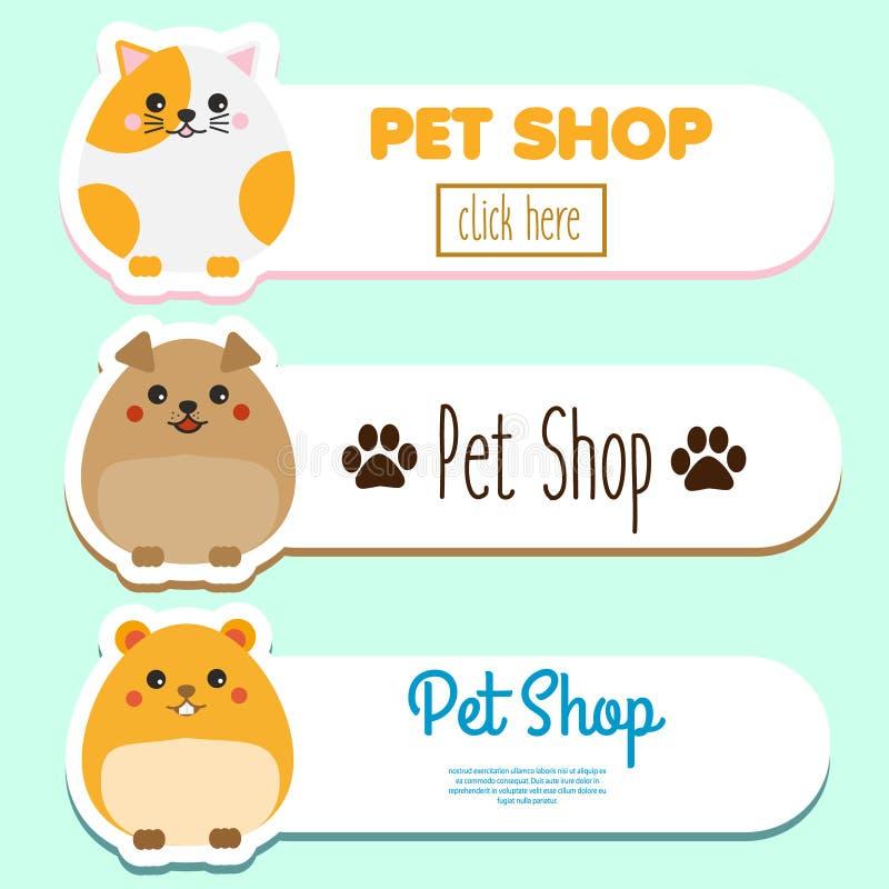 Geschäft- für Haustierefahnen mit nettes kawaii Tiercharakter: Hamster, Katze, Hund Vektorsammlung der Haustierspeicheranzeige lizenzfreie abbildung