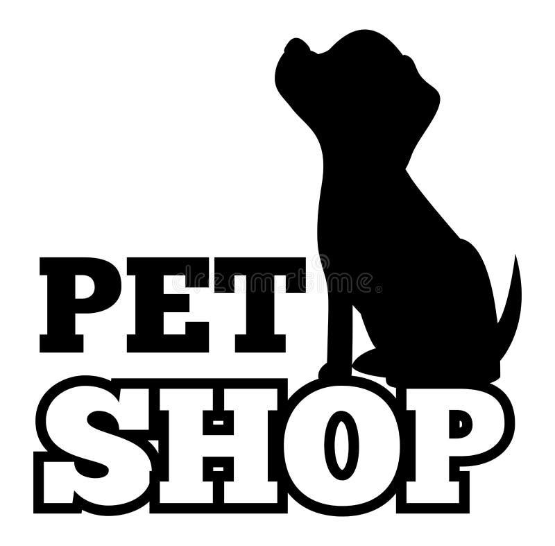 Geschäft- für Haustierelogo und nettes schwarzes Welpen-Schattenbild vektor abbildung