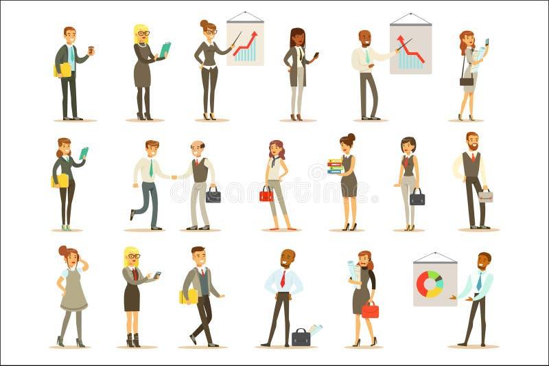 Geschäft, Finanzierung und Büroangestellte in den Klagen beschäftigt am Arbeits-Satz des Karikatur-Geschäftsmannes And Businesswo vektor abbildung
