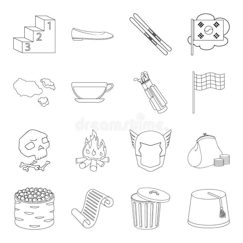Geschäft, Geschichte, Lebensmittel und andere Netzikone in der Entwurfsart Raum, Eignung, Landikonen in der Satzsammlung stock abbildung