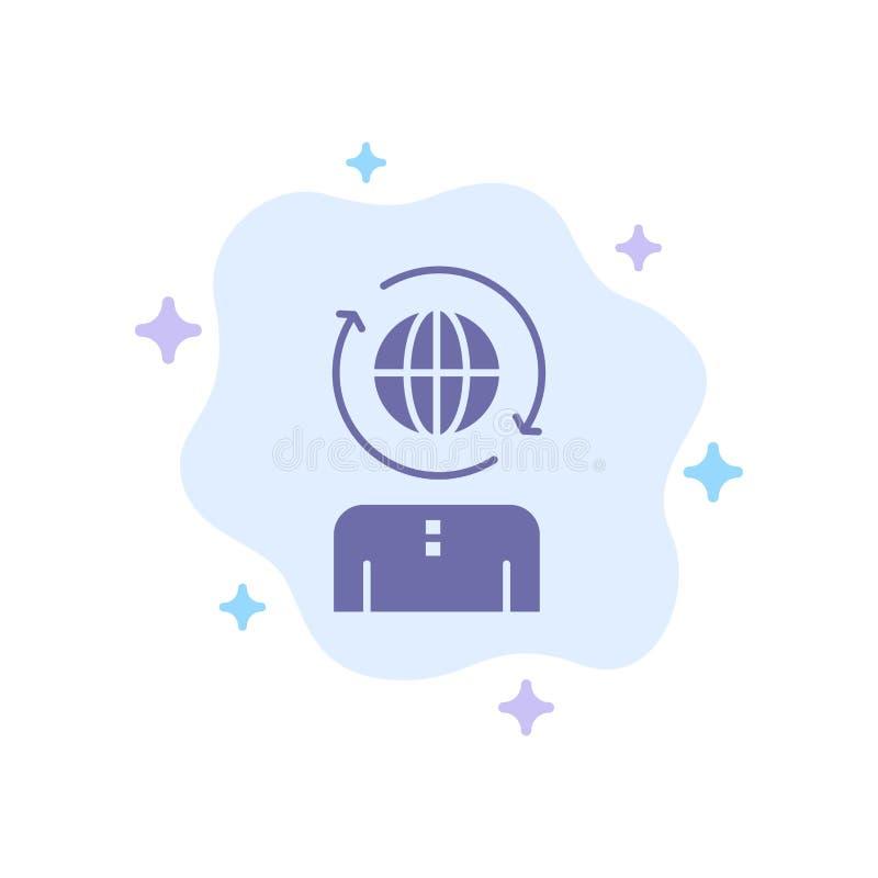 Geschäft, global, Management, moderne blaue Ikone auf abstraktem Wolken-Hintergrund lizenzfreie abbildung