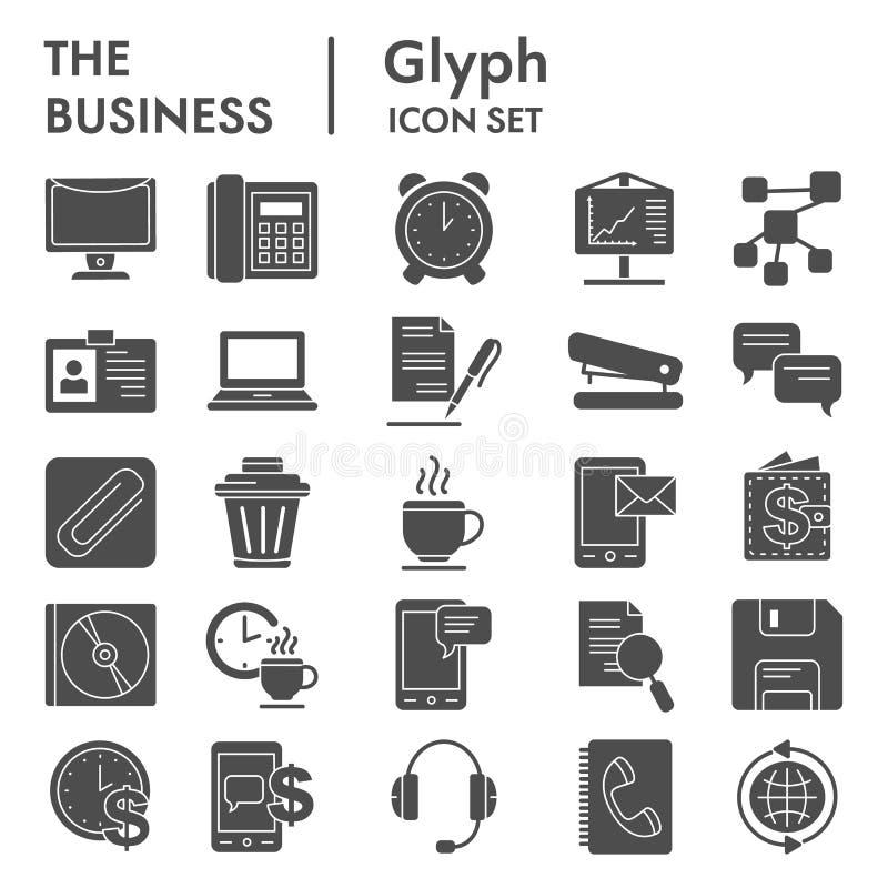 Geschäft Glyph-Ikonensatz, vermarktende Symbole Sammlung, Vektorskizzen, Logoillustrationen, Bürozeichenkörper vektor abbildung