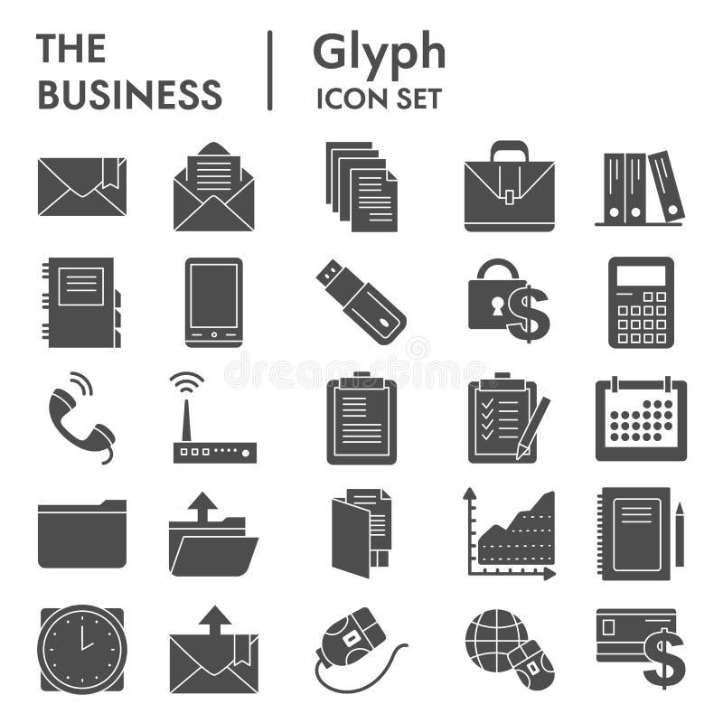 Geschäft Glyph-Ikonensatz, vermarktende Symbole Sammlung, Vektorskizzen, Logoillustrationen, Managementzeichenkörper lizenzfreie abbildung