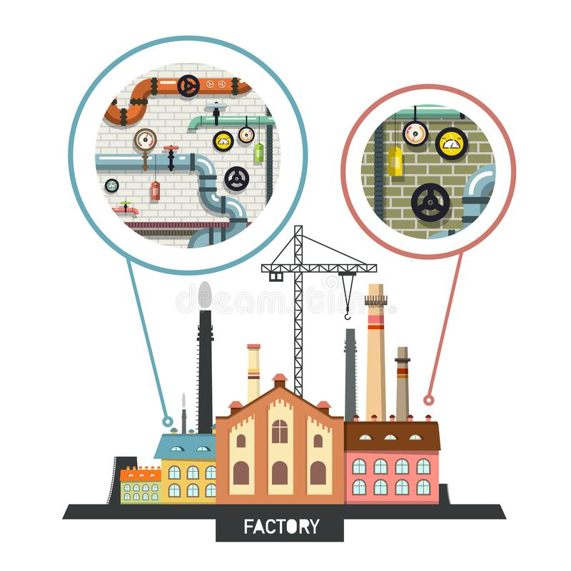 Geschäft - Heftklammer-Stadt-Skyline Vektor-Fabrik mit Innenraum stock abbildung