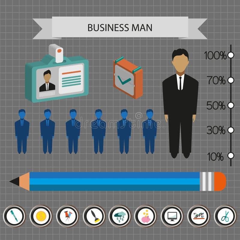 Geschäft infographic mit Ikonen, Personen, Bleistift und Ausweis, flaches Design lizenzfreie abbildung