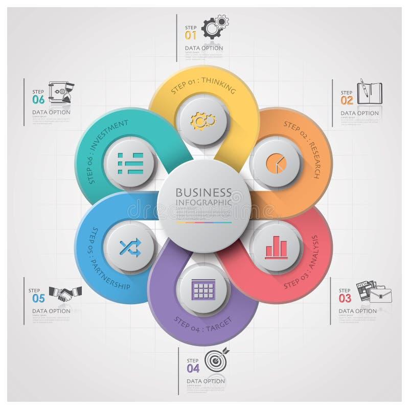 Geschäft Infographic mit spinnendem Kurven-Kreis-Schritt-Diagramm stock abbildung