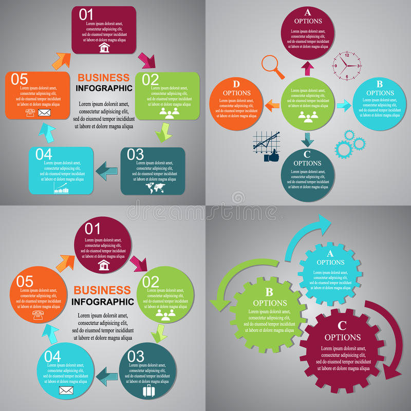 Geschäft, Infographic, Schablonen, Clipart lizenzfreie abbildung