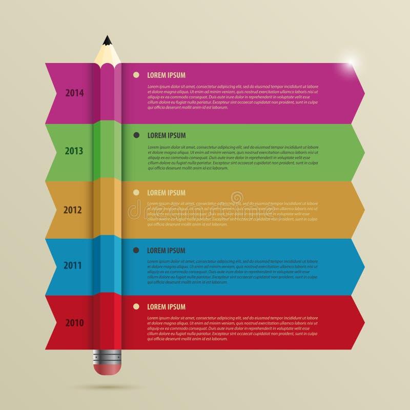 Geschäft Infographic-Zeitachse Schablone mit Bleistift Vektor lizenzfreie abbildung