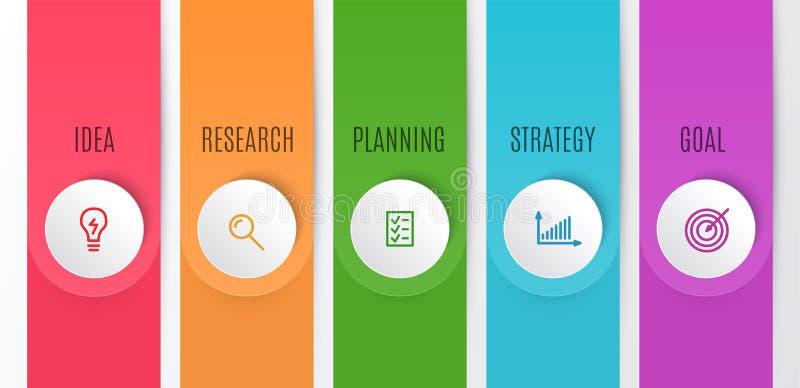 Geschäft Infographics-Diagramm Zeitachse mit 5 Schritten Vector Illustration des infographic Elements für Idee, Forschung vektor abbildung