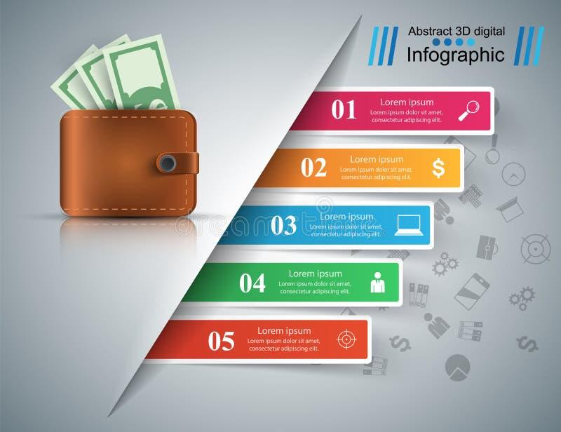 Geschäft Infographics Dollar, Geld, Geldbörsenikone Fünf Einzelteile vektor abbildung