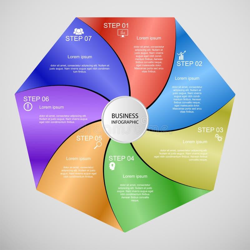 Geschäft InfoGraphics, Geometrie, Siebeneck-Entwurf, Marketing-Darstellung, Abschnittfahne lizenzfreie abbildung
