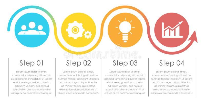 Geschäft infographics mit Pfeil Schablone mit 4 Elementen, Schritte, Wahlen vektor abbildung