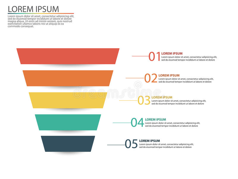 Geschäft infographics mit Stadien eines Verkaufs-Trichters lizenzfreie abbildung