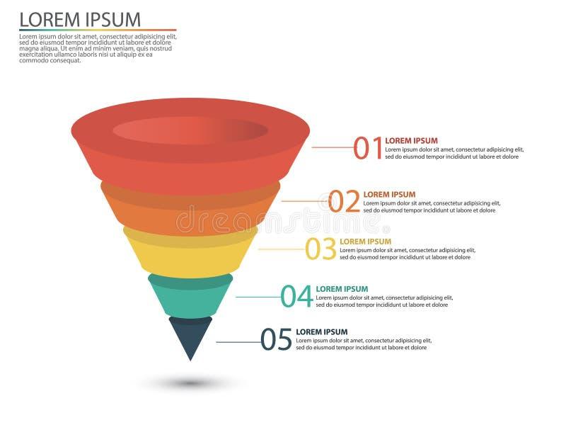 Geschäft infographics mit Stadien eines Verkaufs-Trichters lizenzfreies stockbild