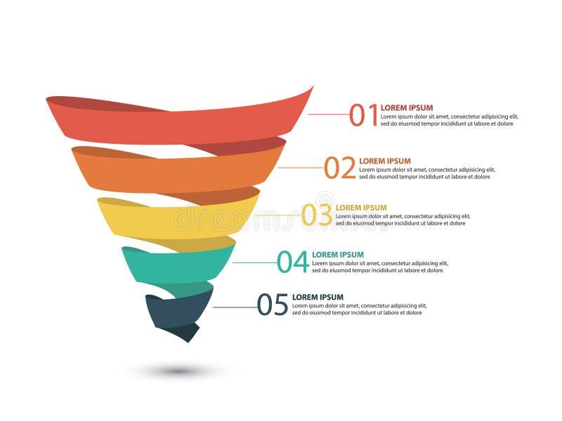 Geschäft infographics mit Stadien eines Verkaufs-Trichters stockbild