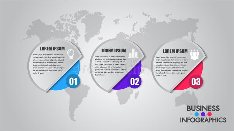 Geschäft Infographics-Prozesskonzept Zeitachse mit 3 Wahlen, Kreise Vector Schablonenelemente für Diagramm, Diagramm, Darstellung lizenzfreie abbildung