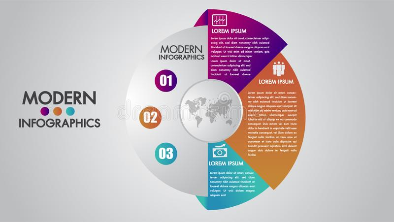 Geschäft infographics Schablone für Diagramm, Diagramm, Darstellung und Diagramm Elementkonzept mit 3 Wahlen, Teilen, Schritten o stock abbildung