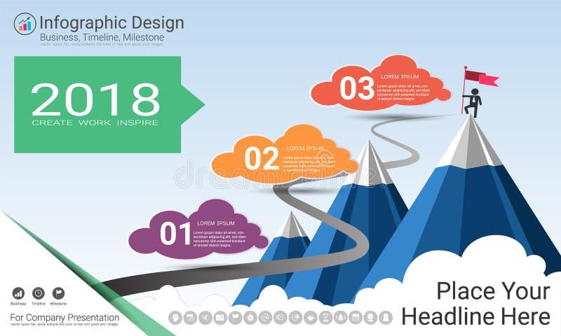 Geschäft infographics Schablone, Meilensteinzeitachse oder Straßenkarte mit Wahlen des Prozessflussdiagramms 3 vektor abbildung