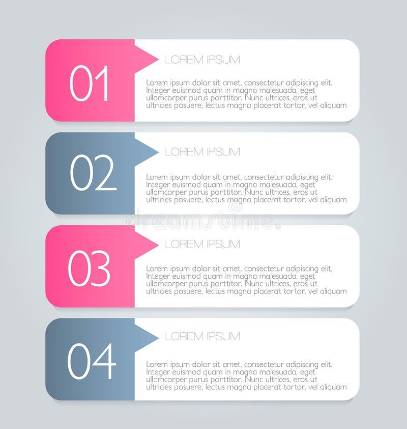 Geschäft infographics versieht Schablone für Darstellung, Bildung, Webdesign, Fahne, Broschüre, Flieger mit Laschen stock abbildung