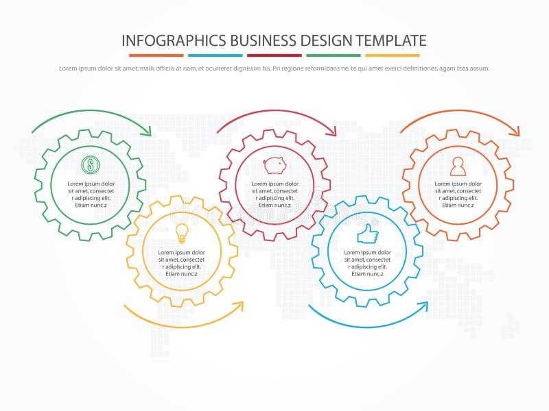 Geschäft Infographics Zeitachse mit 5 Schritten, Gänge, Zahnräder lizenzfreie abbildung