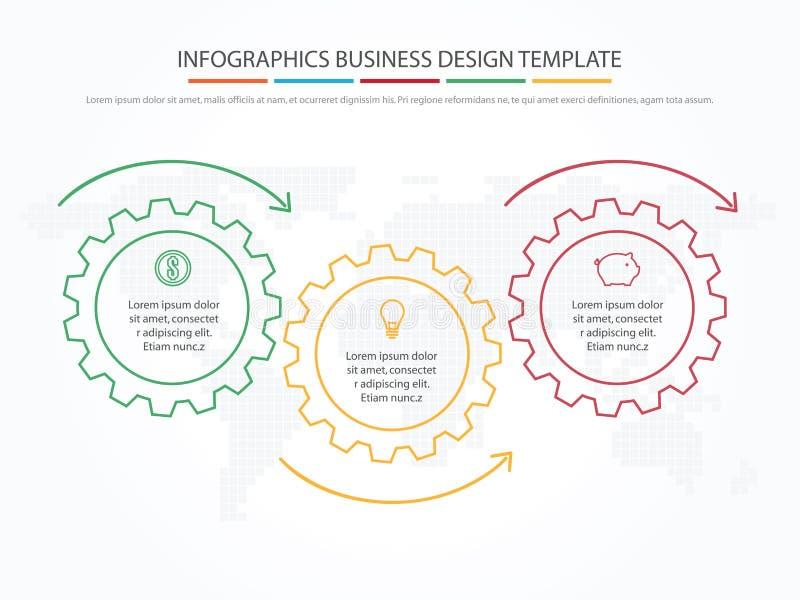 Geschäft Infographics Zeitachse mit 3 Schritten, Gänge, Zahnräder lizenzfreie abbildung
