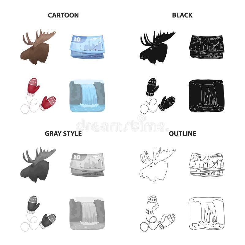 Geschäft, Kanada, Handschuhe und andere Netzikone in der Karikaturart Tier, Elch, Hörner, Kopf, Ikonen in der Satzsammlung vektor abbildung