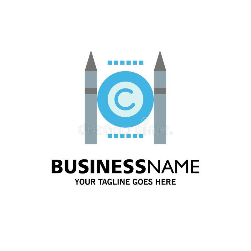 Geschäft, Konflikt, Copyright, Digital-Geschäft Logo Template flache Farbe stock abbildung
