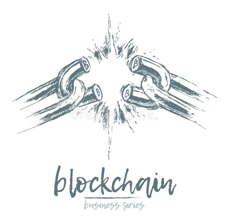 Geschäft Konzept gebrochener Ketten-blockchain Vektor vektor abbildung