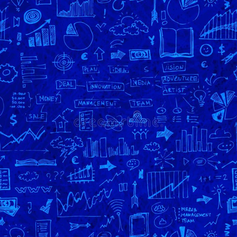 Geschäft kritzelt nahtloses Muster Erfolgselemente auf endlosem Hintergrund vektor abbildung