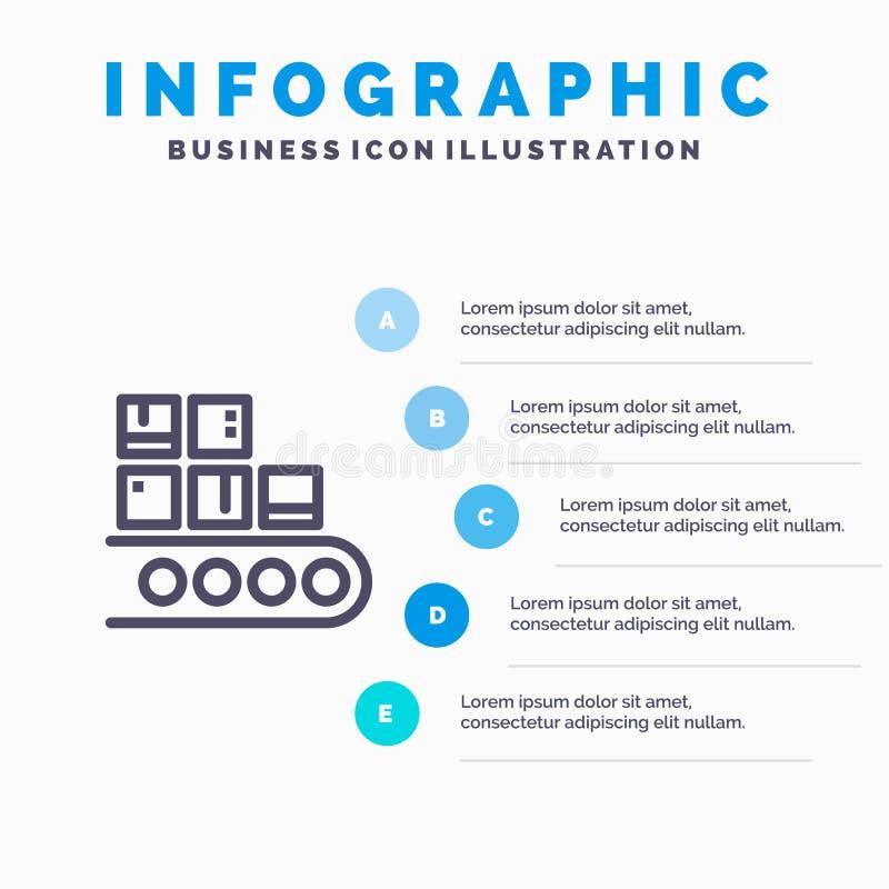 Geschäft, Linie, Management, Produkt, Fertigungsstraßeikone mit Hintergrund infographics Darstellung mit 5 Schritten lizenzfreie abbildung