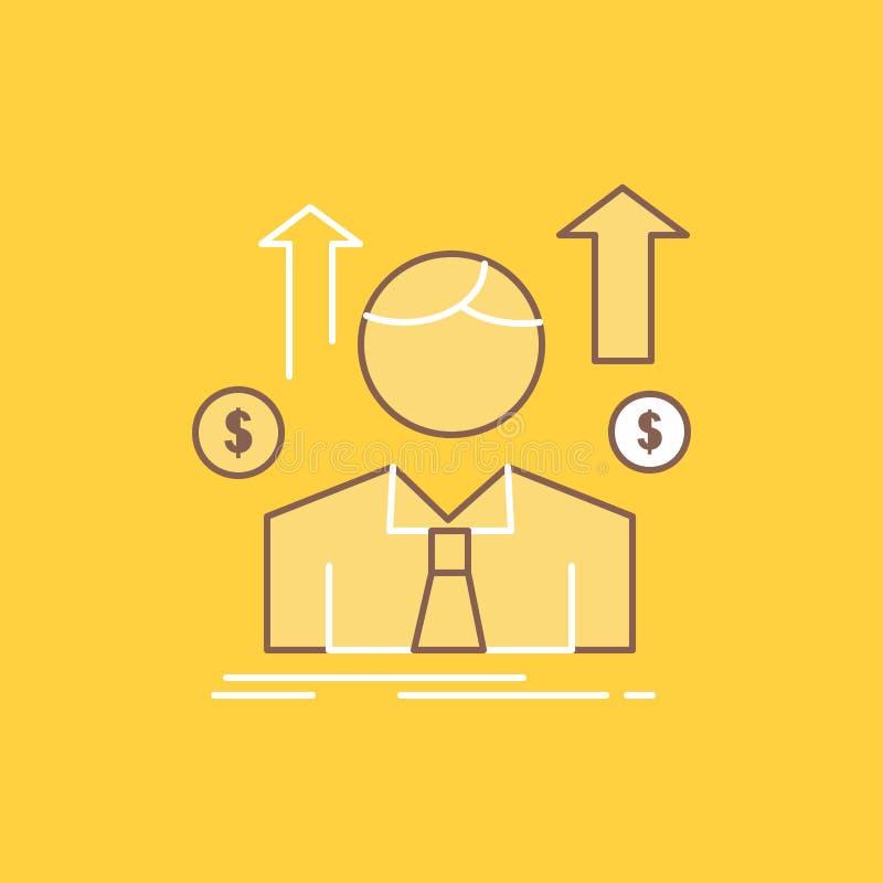 Geschäft, Mann, Avatara, Angestellter, Verkäufe bemannen flache Linie gefüllte Ikone Sch?ner Logoknopf ?ber gelbem Hintergrund f? vektor abbildung