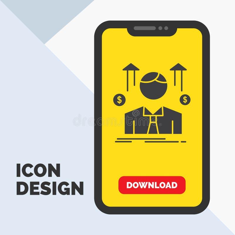Geschäft, Mann, Avatara, Angestellter, Verkaufsmann Glyph-Ikone im Mobile für Download-Seite Gelber Hintergrund stock abbildung