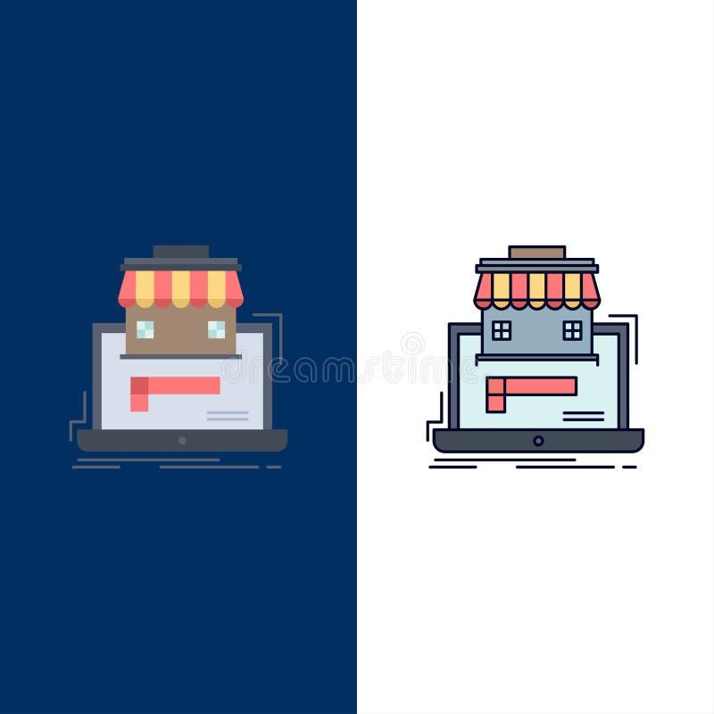 Geschäft, Markt, Organisation, Daten, on-line-Markt flacher Farbikonen-Vektor lizenzfreie abbildung