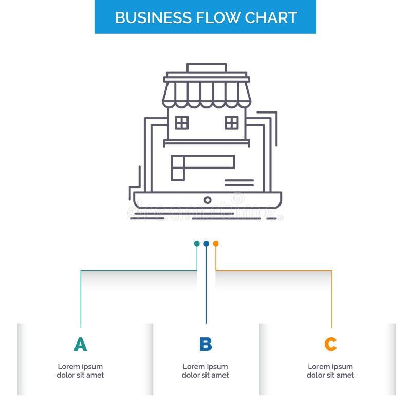 Geschäft, Markt, Organisation, Daten, on-line-Markt Geschäfts-Flussdiagramm-Entwurf mit 3 Schritten Linie Ikone f?r Darstellung vektor abbildung