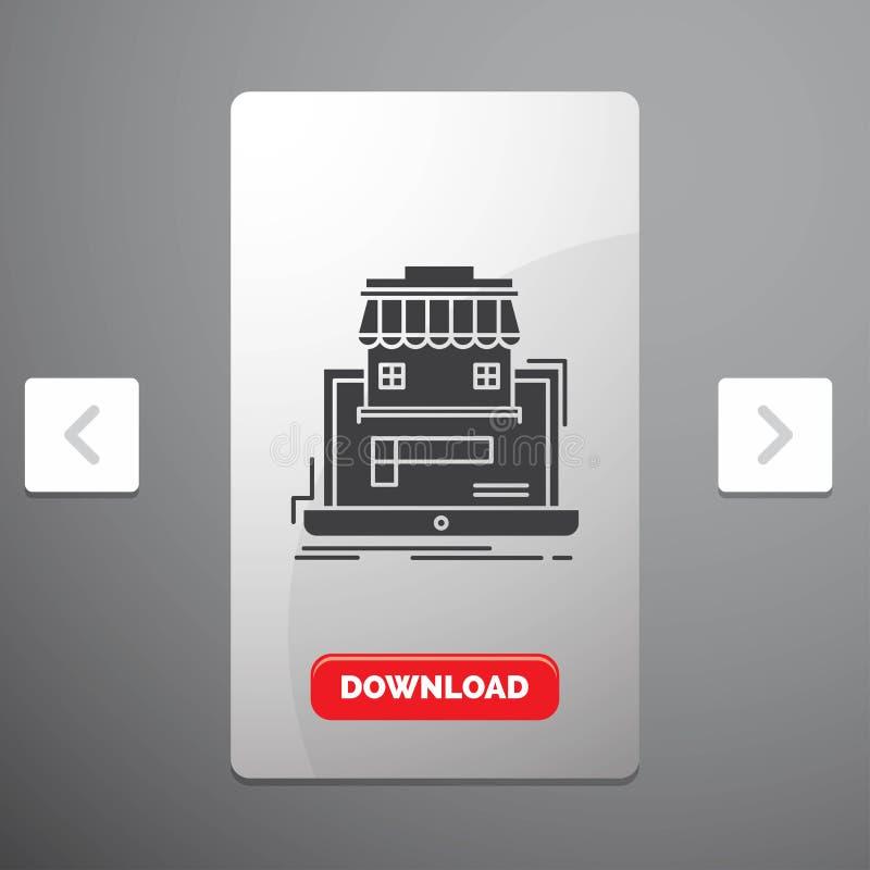 Geschäft, Markt, Organisation, Daten, on-line-Markt Glyph-Ikone im Carousals-Paginierungs-Schieber-Entwurf u. roter Download-Knop vektor abbildung