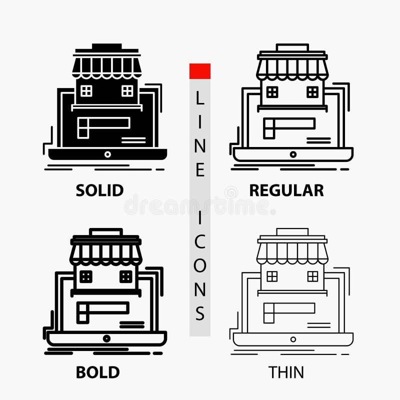 Geschäft, Markt, Organisation, Daten, on-line-Markt Ikone in der dünnen, regelmäßigen, mutigen Linie und in der Glyph-Art Auch im lizenzfreie abbildung