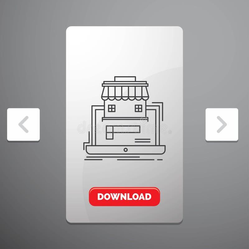 Geschäft, Markt, Organisation, Daten, on-line-Markt Linie Ikone im Carousals-Paginierungs-Schieber-Entwurf u. roter Download-Knop stock abbildung