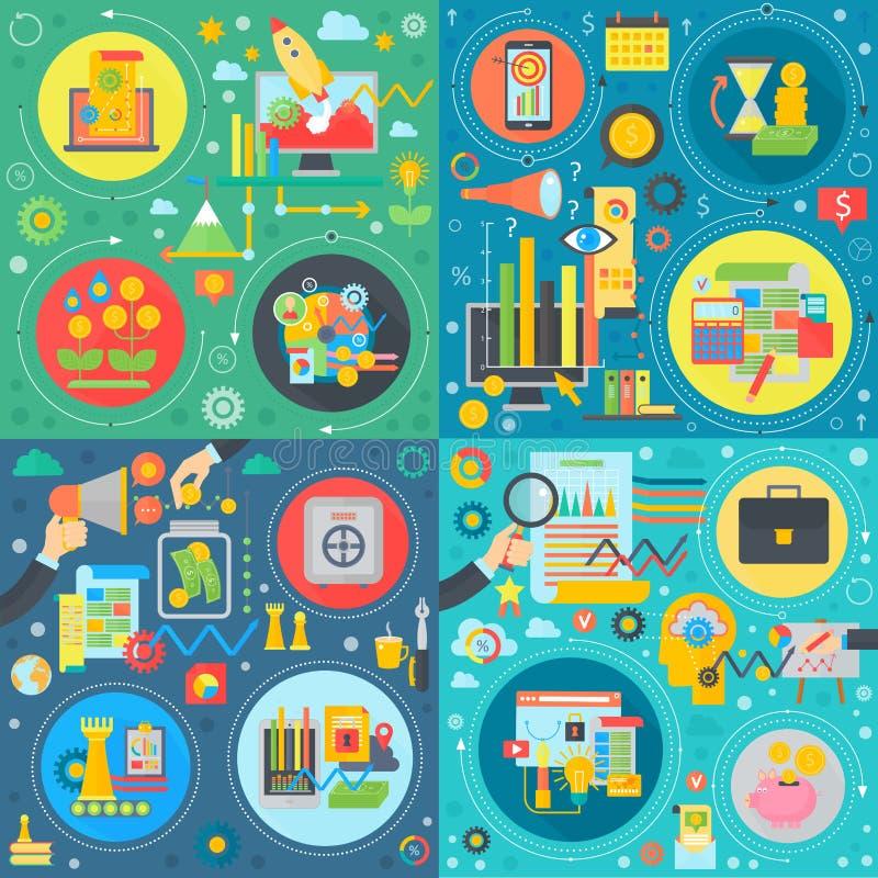 Geschäft, modischer flacher Konzeptsatz der Technologie Teamwork, Finanzanalyse, erfolgreiche neue Idee und Produktentwicklung stock abbildung