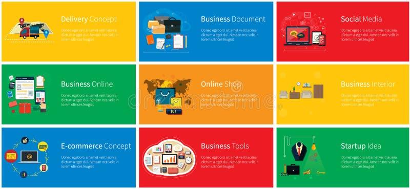 Geschäft online, Social Media, Lieferungs-Konzept lizenzfreie abbildung