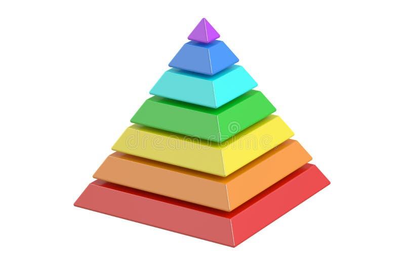 Geschäft pyramide mit Farbe planiert, Pyramidendiagramm Wiedergabe 3d stock abbildung