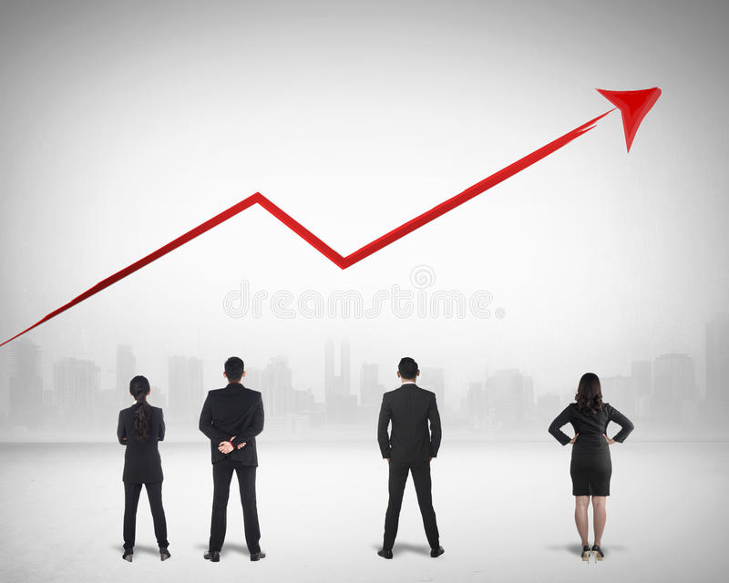 Geschäft Team Watching Sales Grow Up